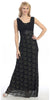 Pleated Straps Belted Empire Waist Black Gold Lace Formal Gown