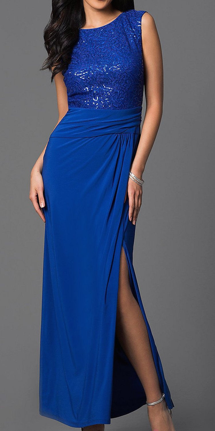 Full Length Royal Blue Cocktail Dress Sequin Top Open Front Slit