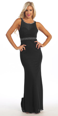 Full Length Sheath Dress Black Tight Fit Sleeveless Sheer Bodice