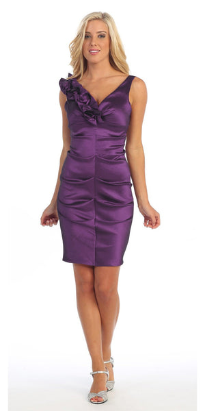 Plum Cocktail Dress Taffeta Short Tight Fit Flower Strap V Neck
