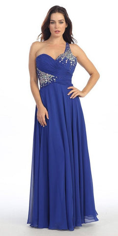 Rhinestone Studded Bodice A Line Royal Blue Prom Gown