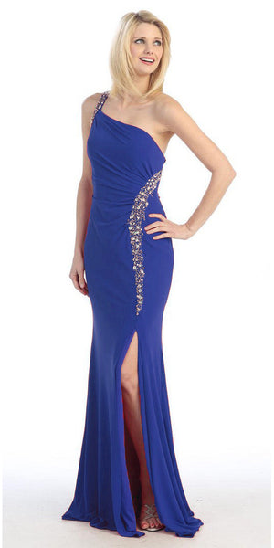 Rhinestone Studded Long Royal Blue Thigh Slit Red Carpet Gown