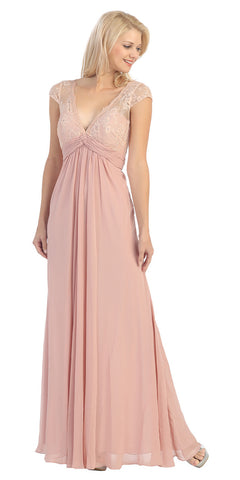 Plunging V Neck Long Chiffon A Line Dusty Rose Evening Dress