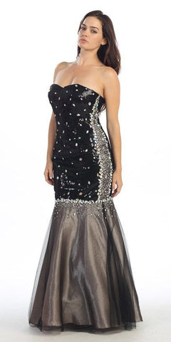 Rhinestone Studded Strapless Black Taupe Mermaid Dress