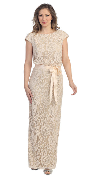 Ribbon Sash Belt Khaki Floral Laced Long Column Party Gown