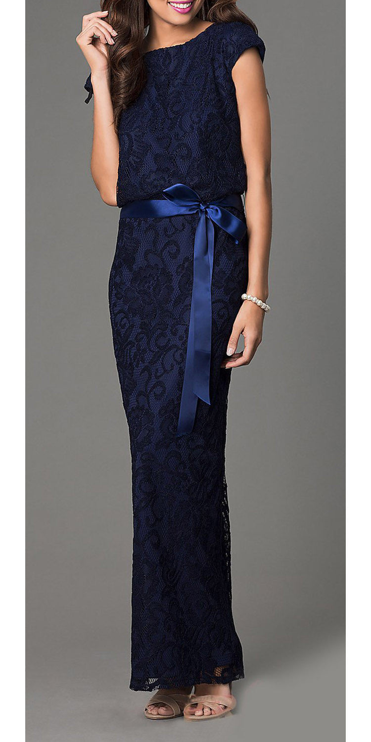 Ribbon Sash Belt Navy Blue Floral Laced Long Column Party Gown
