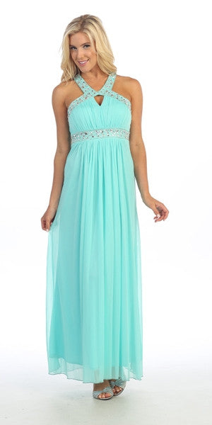 Strapped Back Studded Halter Neck Mint Long Column Gown