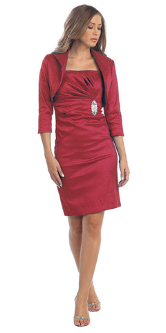 Taffeta Knee Length Red Dress Includes 3/4 Length Bolero Jacket