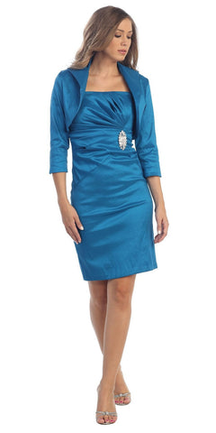 Taffeta Knee Length Teal Blue Dress Includes 3/4 Length Bolero Jacket