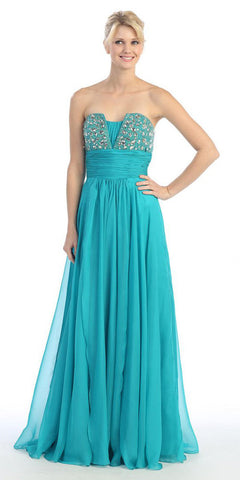 Studded Bodice A Line Long Jade Ball Gown