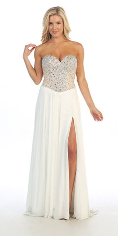 Studded Bodice Sweetheart Neckline Long Off White Prom Gown