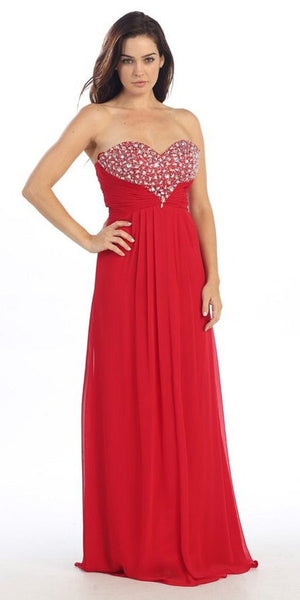 Studded Bodice Sweetheart Neckline Long Red A Line Gown