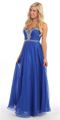 Royal Blue A Line Prom Gown Sweetheart Neck Rhinestone Empire Waist