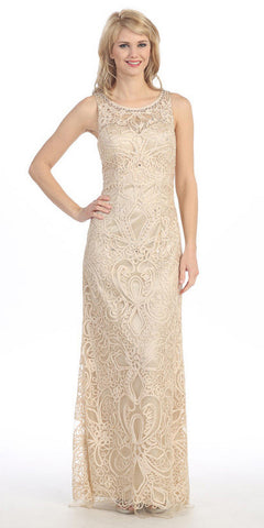 Plus Size Floor Length Lace Evening Gown Champagne Gold Wide Straps