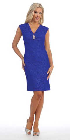 Royal Blue Cocktail Lace Dress Knee Length V Neckline Cap Sleeves