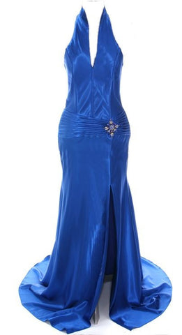 Royal Blue Collar Halter Dress Satin Formal Open Slit Sexy Full Length Gown