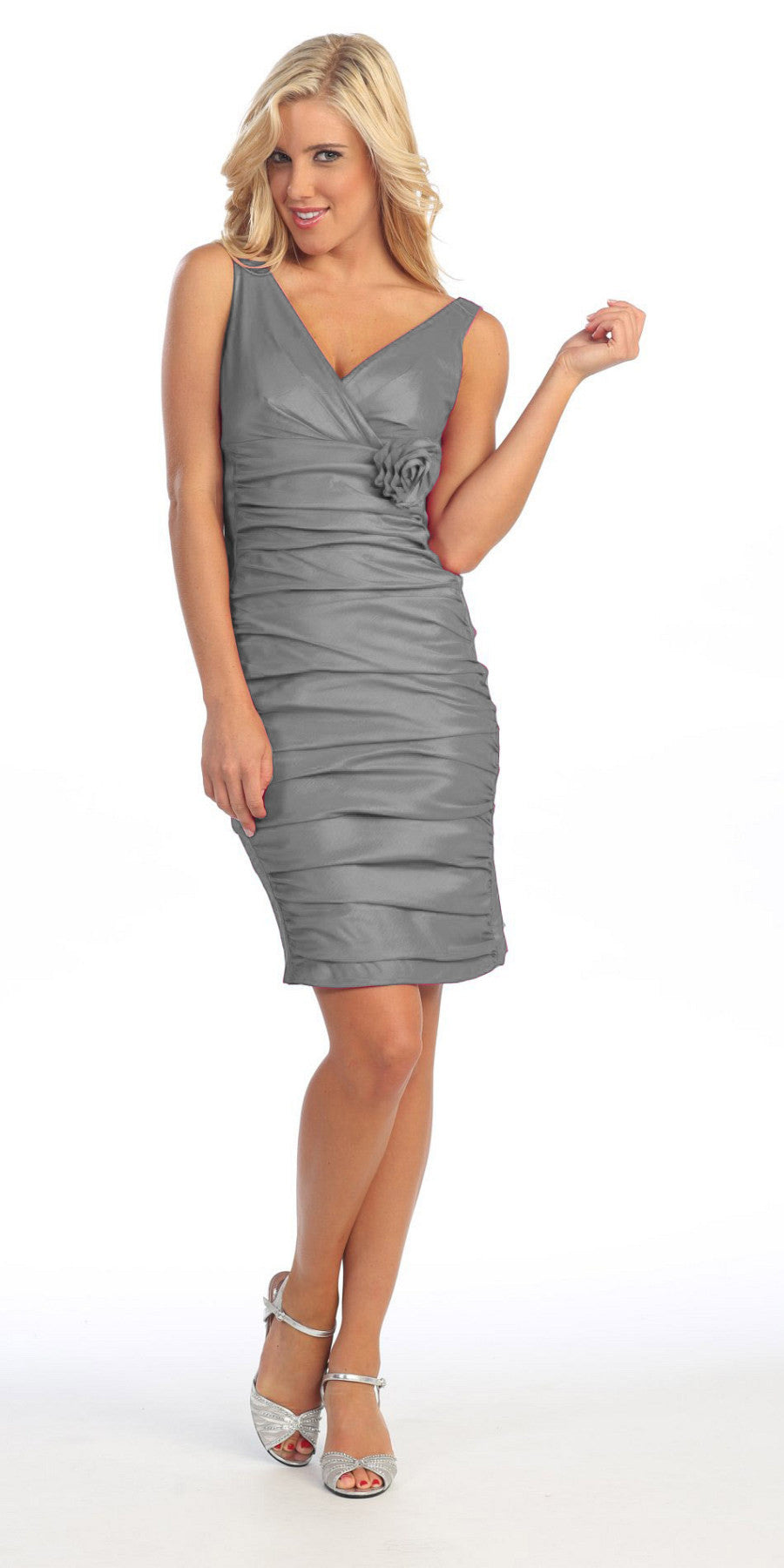 Gray Cocktail Dress Short Tight Fit Wide Straps V Neck Ruched