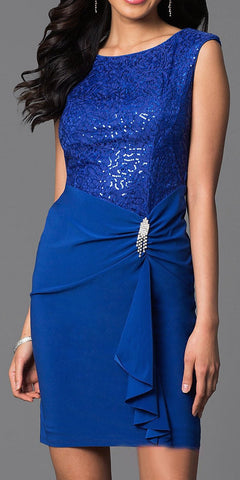Royal Blue Knee Length Sheath Dress Cap Sleeve Sequin Top