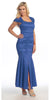 Royal Blue Tea Length Semi Formal Dress Lace Cap Sleeves Front Slit