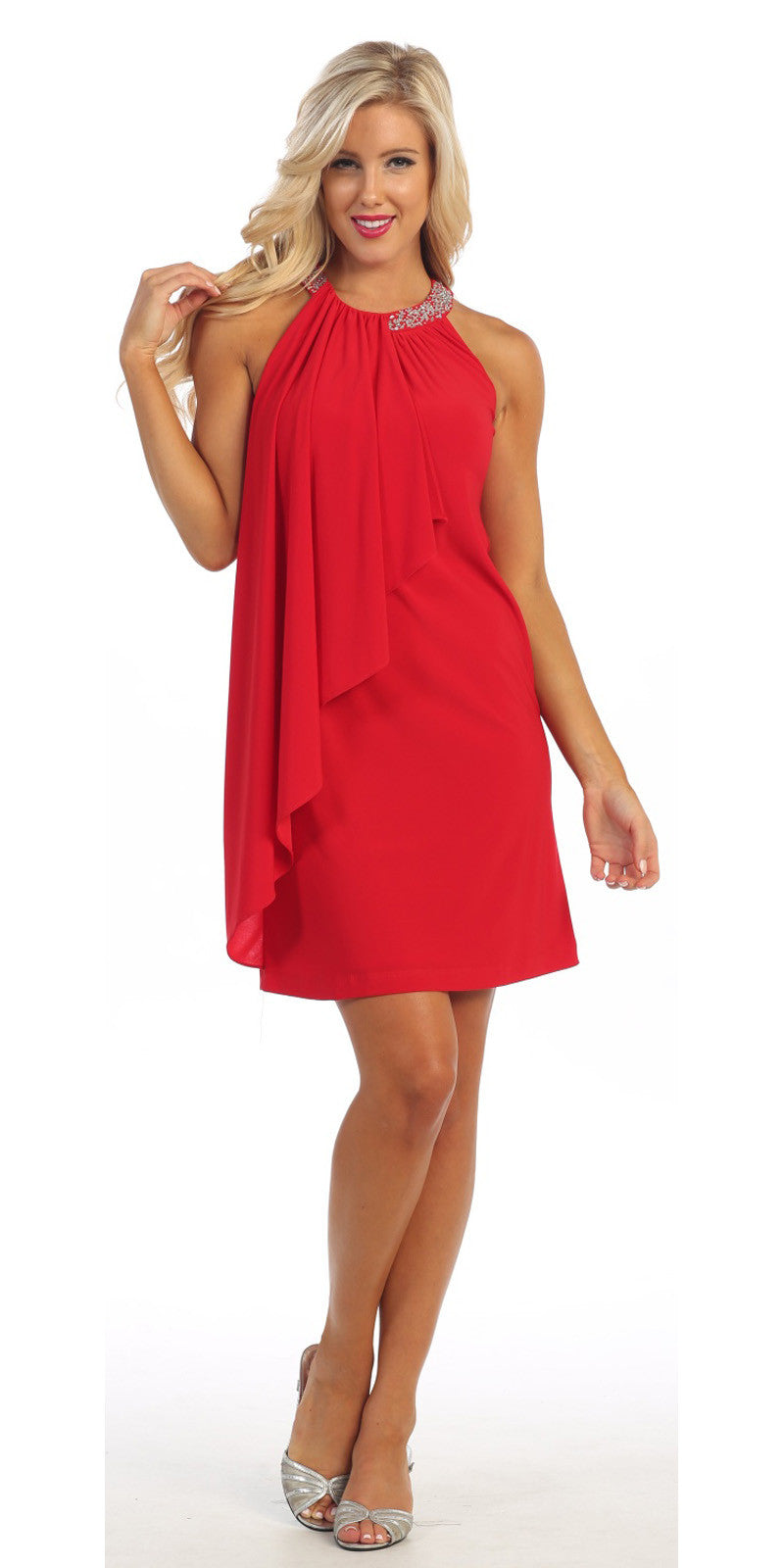 Halter Cocktail Dress Red Short Rhinestone Neckline Draped