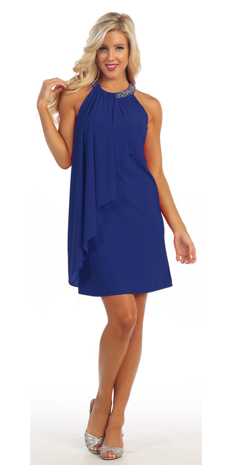 Halter Cocktail Dress Royal Blue Short Rhinestone Neckline Draped