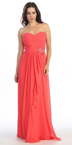 Ruched Bodice Layered Skirt Long Coral Formal Gown