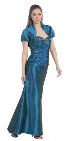 ON SPECIAL - LIMITED STOCK - Teal Formal Dress Long Formal Fancy Sweetheart Ruch Gathered Tight