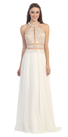 Halter Prom Gown Ivory A Line Chiffon Nude Mesh