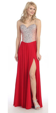 Thigh Slit Studded Bodice Floor Length Red Ball Gown