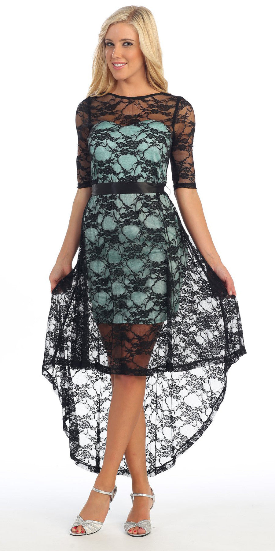 High Low Black Lace Dress Aqua Mid Length Lace Sleeves Ultra Cute