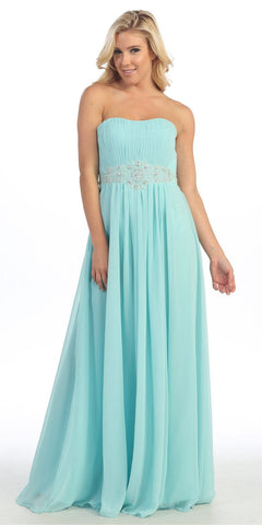 A Line Long Prom Dress Aqua Strapless Empire Beaded Waist
