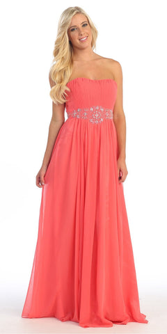 A Line Dark Coral Pageant Dress Full Length Sparkly Rhinestone Bodice