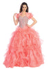 Tiered Ruffled Skirt Studded Bodice Coral Princess Gown