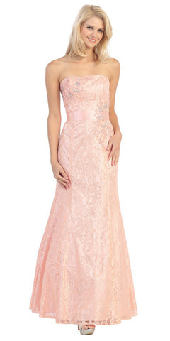 A Line Strapless Natural Waist Long Dusty Pink Formal Gown