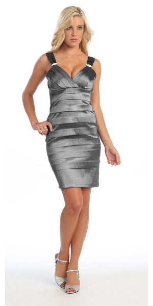 Tight Fit Dark Silver Cocktail Dress Pleated Wide Straps Short Above Knee