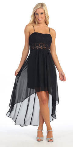 Black High Low Bridesmaid Dress Spaghetti Strap Flower Waist Empire