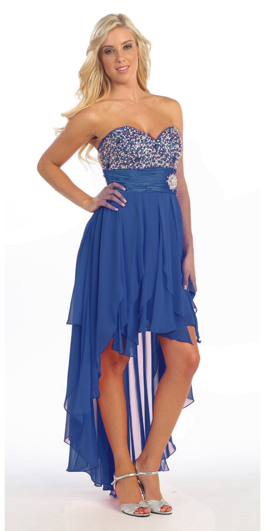 High Low Homecoming Royal Blue Dress Beads Sequins Asymmetrical Skirt