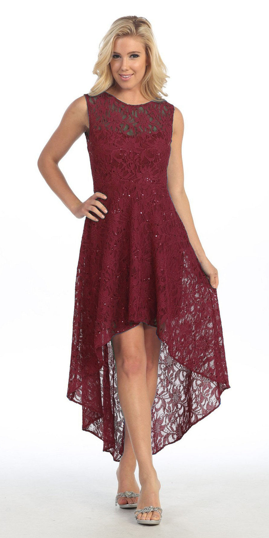 High Low Lace Burgundy Semi Formal Dress Illusion Neck Sleeveless