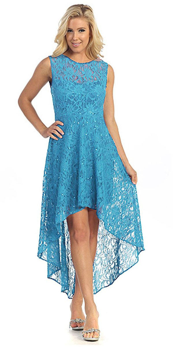 High Low Lace Jade Semi Formal Dress Illusion Neck Sleeveless