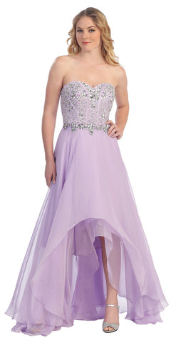 High Low Lilac Prom Gown Corset Bodice Multi Layer Chiffon Skirt