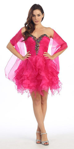Ruffled Skirt Strapless Fuchsia Short Puffy Dress