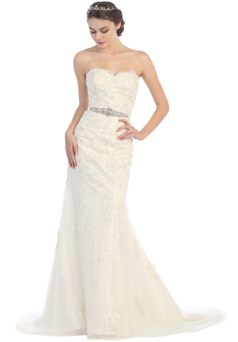 Trumpet Sheath Wedding Gown Lace Off White Strapless