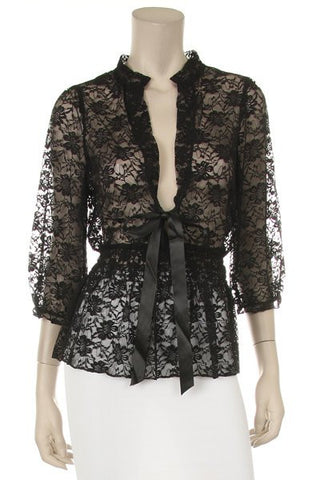 Black Lace Top 3/4 Length Sleeve V Neck With Bow
