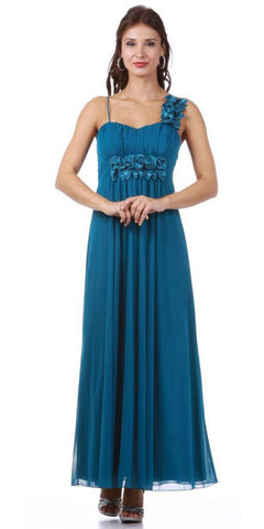 Ankle Length Chiffon Maternity Bridesmaid Gown Teal Dress Flowy