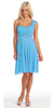 Turquoise Bridesmaid Short Dress Knee Length Chiffon Flower Waist