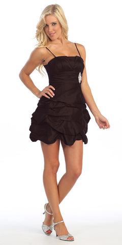 Black Party Dress Satin Cocktail Gown Ruched Bubble Skirt Above Knee