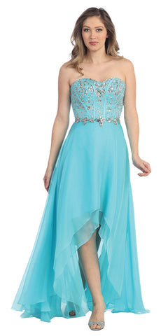 High Low Turquoise Prom Gown Corset Bodice Multi Layer Chiffon Skirt