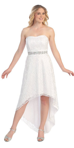 High Low White Wedding Reception Gown Strapless Rhinestone Waist