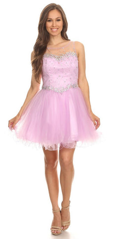 Illusion Neckline Keyhole Back Short Lilac Puffy Prom Dress