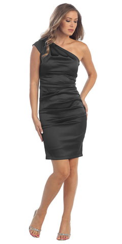 Cocktail Short Dress Black One Strap Satin Gathered Tight Fit